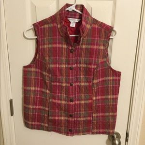 Red and Pink Plaid Vest